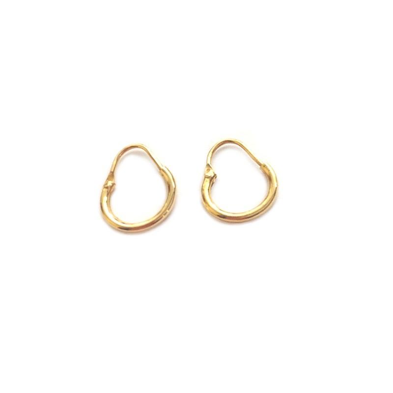 Yellow gold 18Kt - 750/1000 shiny hoop woman earrings