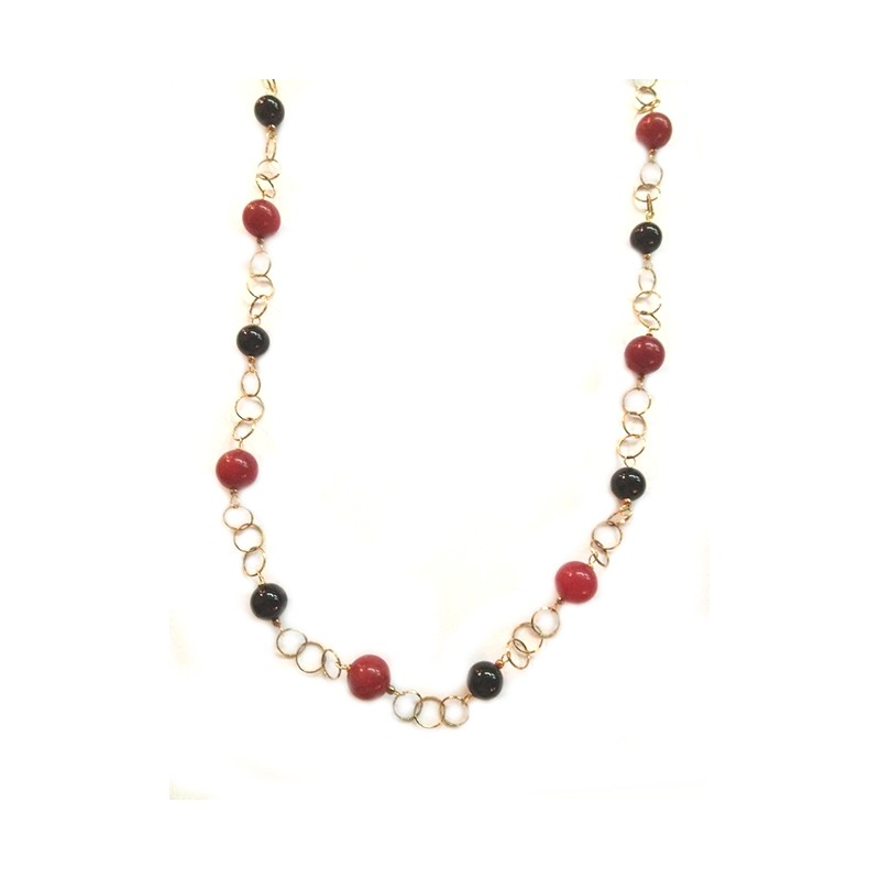925 sterling silver, gold plated necklace, with natural stones, woman