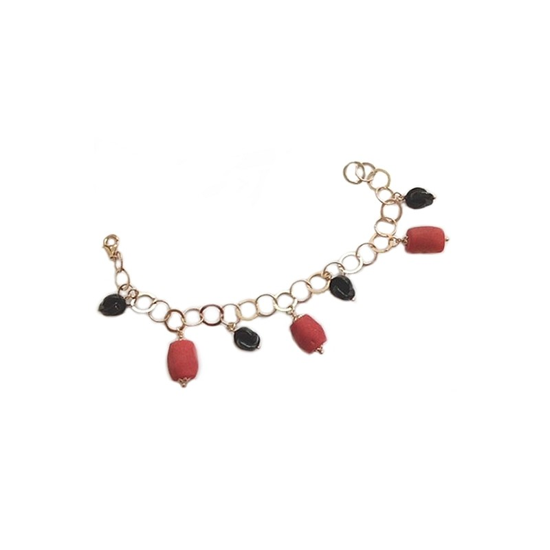 925 sterling silver, gold plated bracelet, with natural stones, woman