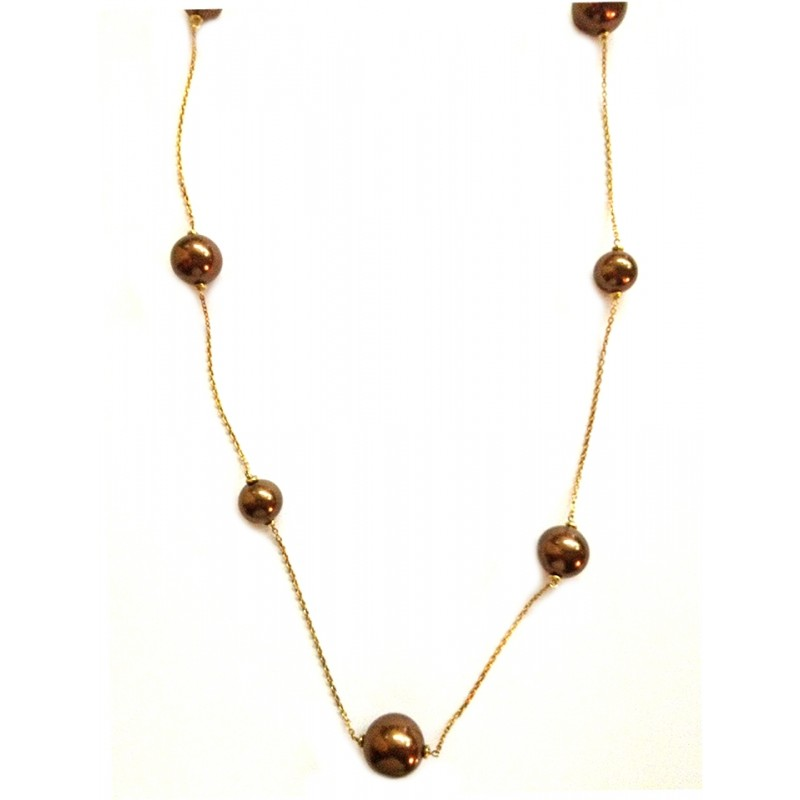 925 sterling silver necklace, with chocolate-coloured pearls woman