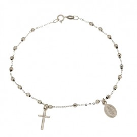 White gold 18Kt 750/1000 with faceted spheres rosary unisex bracelet