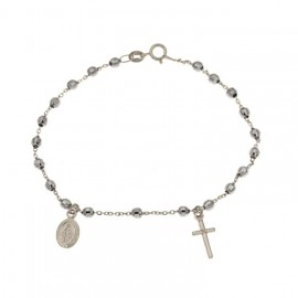 White gold 18Kt 750/1000 with faceted spheres rosary bracelet