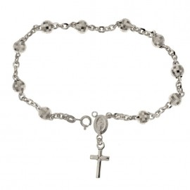 White gold 18Kt 750/1000 with faceted spheres unisex rosary bracelet Length