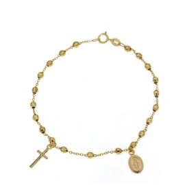 Yellow gold 18Kt 750/1000 with faceted spheres rosary unisex bracelet