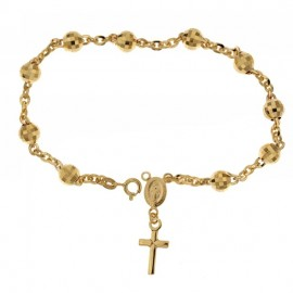 Yellow gold 18Kt 750/1000 with faceted spheres unisex rosary bracelet