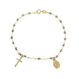 Yellow and white gold 18Kt 750/1000 with faceted spheres unisex rosary bracelet