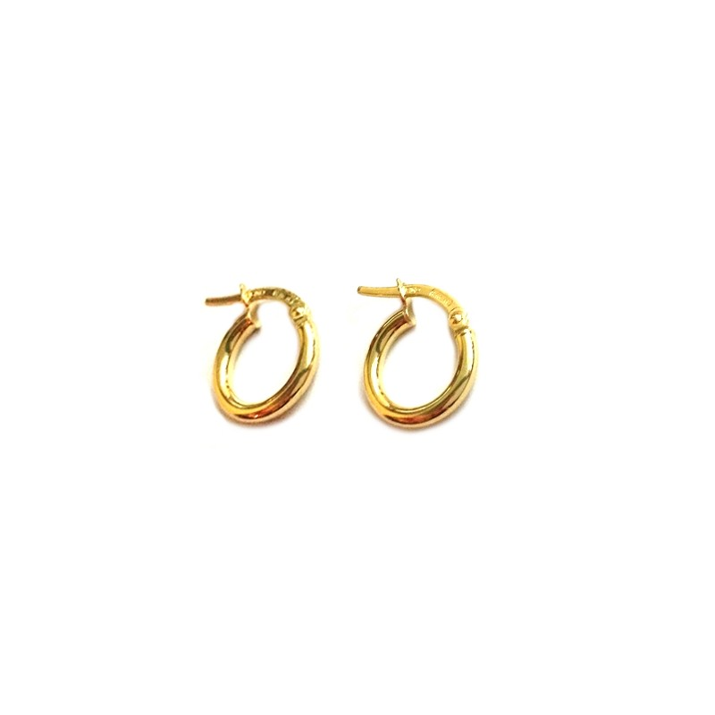 Yellow gold 18Kt - 750/1000 shiny hoop unisex earrings