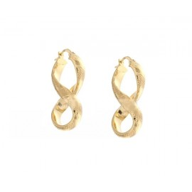 Yellow gold 18Kt - 750/1000 shiny and hammered hoop earrings