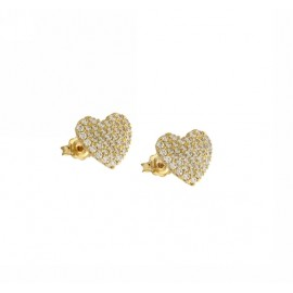 Yellow gold 18Kt 750/1000 with white cubic zirconia hearts woman earrings