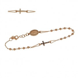Rose gold 18Ct 750% rosary bracelet with white and black stones, Length 7.00 inch