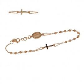 Bracciale rosario in oro rosa 18Ct 750% con zirconi bianchi e neri