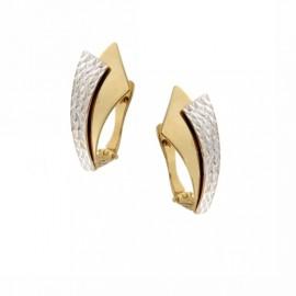 Orecchini in oro giallo e bianco 18Ct, modello fantasia da donna