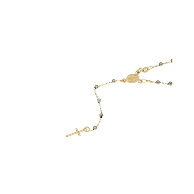 White and yellow gold 18kt 750/1000 with spheres rosary necklace