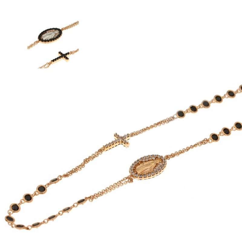 Girocollo rosario in oro rosa 18ct 750% con pietre nere