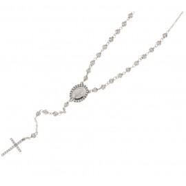Girocollo Rosario in oro bianco 750% 18Kt con zirconi