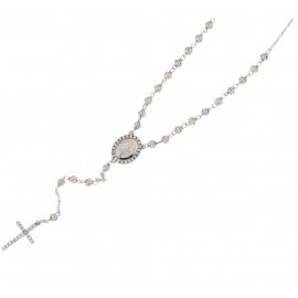 White gold 18Kt 750/1000 with white cubic zirconia woman rosary necklace