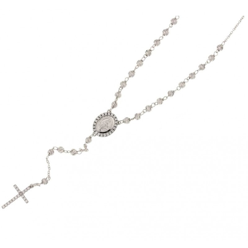 White gold 18Carat rosary necklace, white zircons, woman