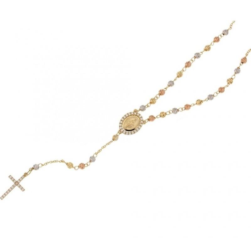 Girocollo Rosario in oro bianco, giallo e rosa 750% 18Kt con zirconi