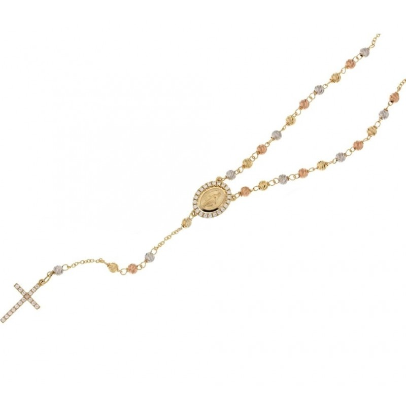 White, yellow and rose gold 18Carat rosary necklace, white zircons, woman