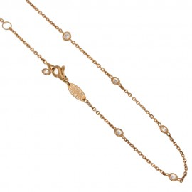 Rose gold 18Carat necklace, white zircons, woman