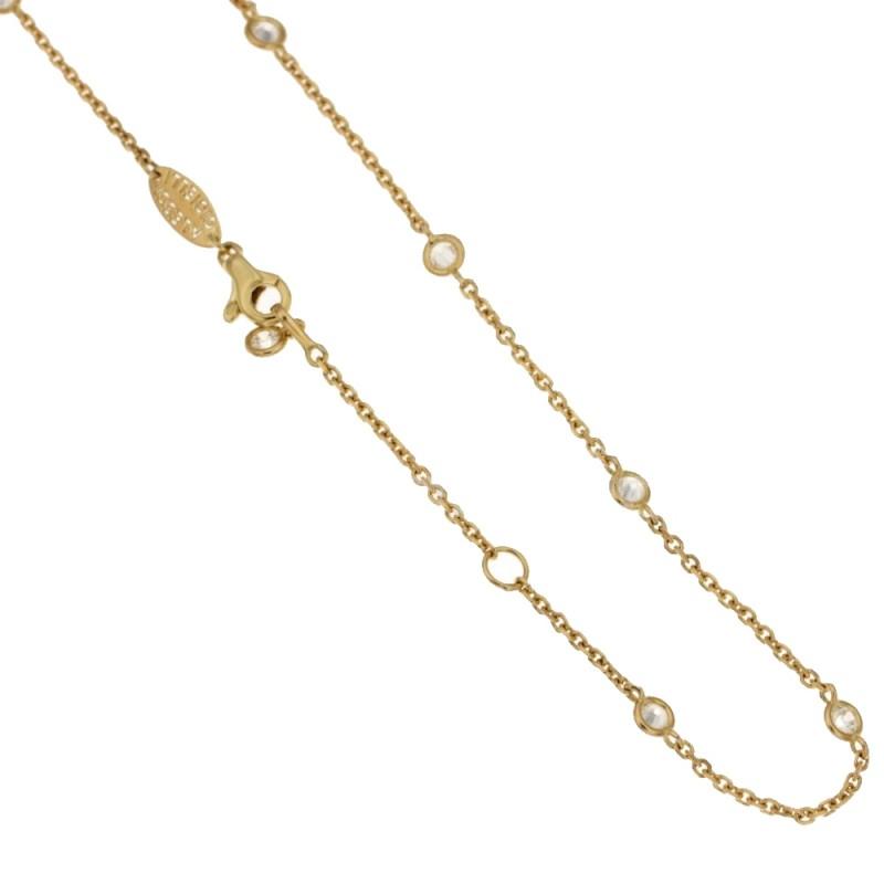 Catenina forzatina con pietre in oro giallo 18Kt