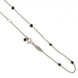 White gold 18k 750/1000 with black quartz woman necklace