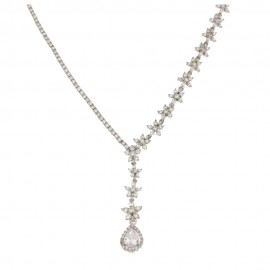 White gold 18Carat type tennis necklace, woman