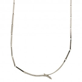 White gold 18Kt - 750% necklace with white zircons, woman