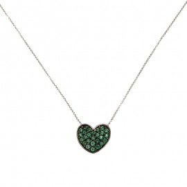 White gold 18Carat heart necklace, with green cubic zirconia