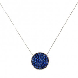 White gold 18k 750/1000 with blue cubic zirconia necklace