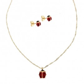 Yellow gold 18 K necklace+earrings, child set
