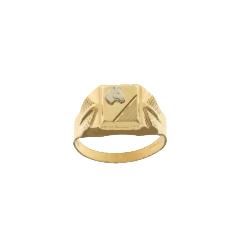 Yellow gold 18Carat man ring, whith white gold horse