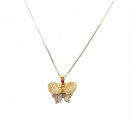 White and yellow gold 18Kt 750/1000 with butterfly pendant