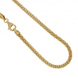 Yellow gold 18k 750/1000 pop corn type unisex necklace