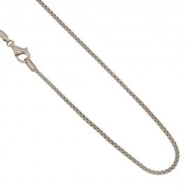 White Gold 18Kt 750/1000 Pop corn chain shiny unisex necklace