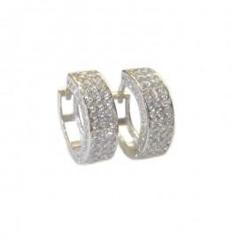 White gold 18Kt - 750% zircons, hoop earrings