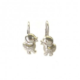White gold 18 carat earrings, rhodium, for children