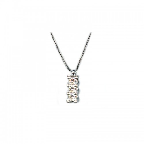 Collana in oro bianco 18Kt 750% con trilogy Ct 0.19