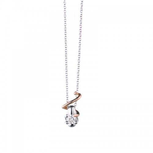 Collana in oro bianco 18Ct 750% con ciondolo in oro bianco e rosa Polello