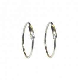 White gold 18Carat unisex hoop earrings