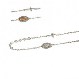 Girocollo rosario in oro bianco 18Kt 750/1000 diamantata con zirconi bianchi