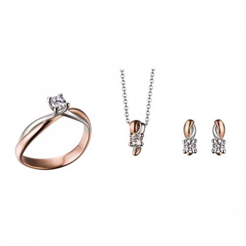 Parure in oro bianco e rosa 18Kt e diamanti Polello
