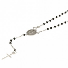 White gold 18k 750/1000, black stones Rosary necklace 19.68 inch