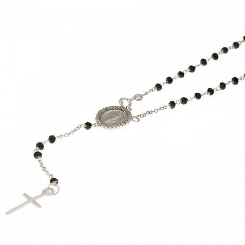 White gold 18 carat, black stones Rosary necklace 19.68 inch