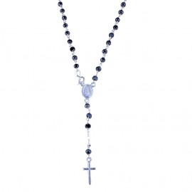 White gold 18 Kt, black stones Rosary necklace 19.68 inch