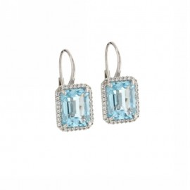White gold 18Kt 750% earrings with light blue and white zircons