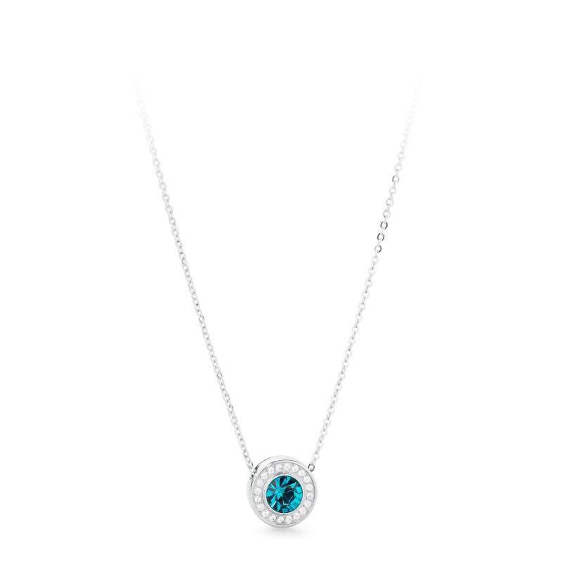 Collana S'agapõ in acciaio STARDUST ,ciondolo con cristallo indicolite e cristalli bianchi.