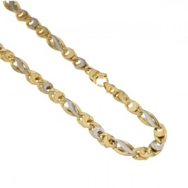 White and yellow gold 18kt 750/1000 alternating link chain men necklace