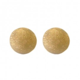 Yellow gold 18 Kt satin half sphere earrings for woman