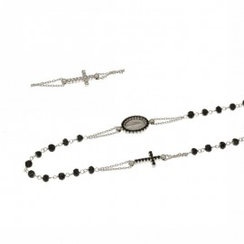 White gold 18kt 750/1000 with black stones rosary necklace